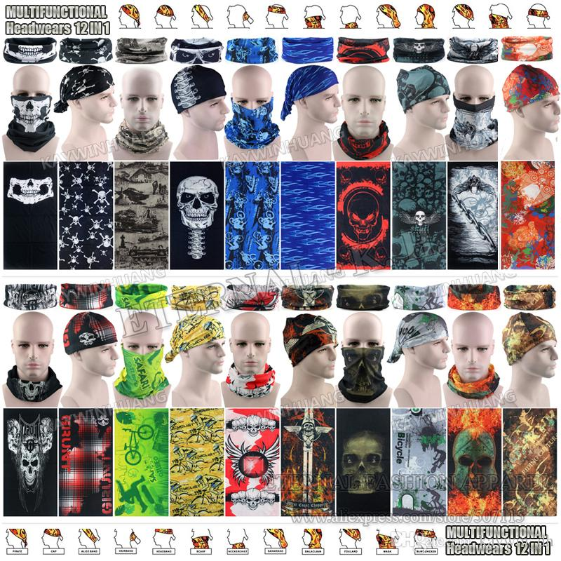 10pcs / lot Divers Mode SKulls Designs Microfibre Mmotorcycle Bandana Multifonct
