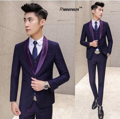 Modern Latest Coat Pant Designs Prom Suits Navy Purple Jacket   ...