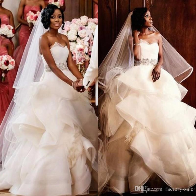 Ball Gown Wedding Dresses In Johannesburg : Cascading ruffles new puffy ball gown wedding dresses