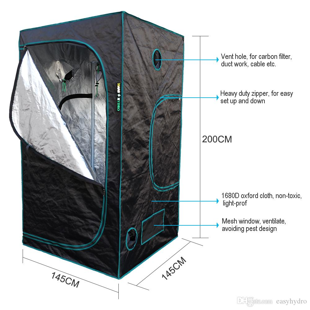 Marshydro LED Grow Tent 145 * 145 * 200 Indoor 1680D Grow Tent 100% réfléchissan