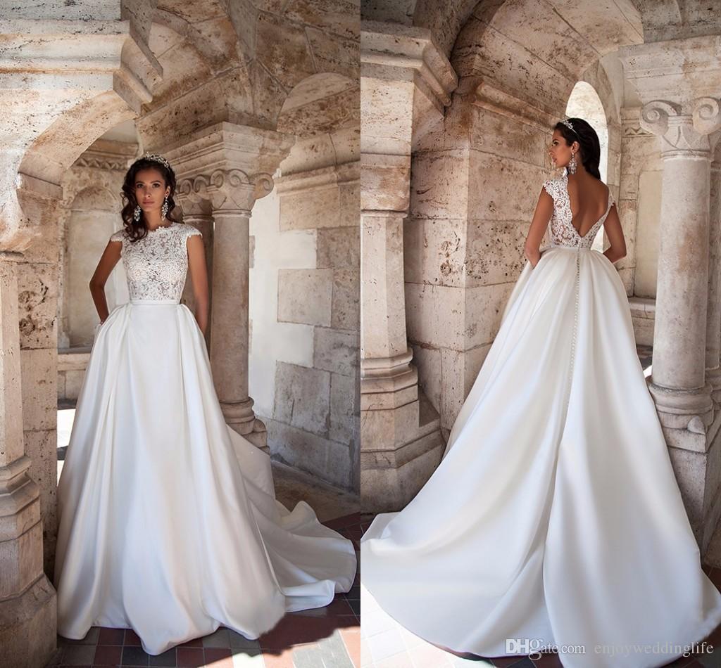 Elegant 2017 New Cap Sleeves Lace Top Wedding Dresses