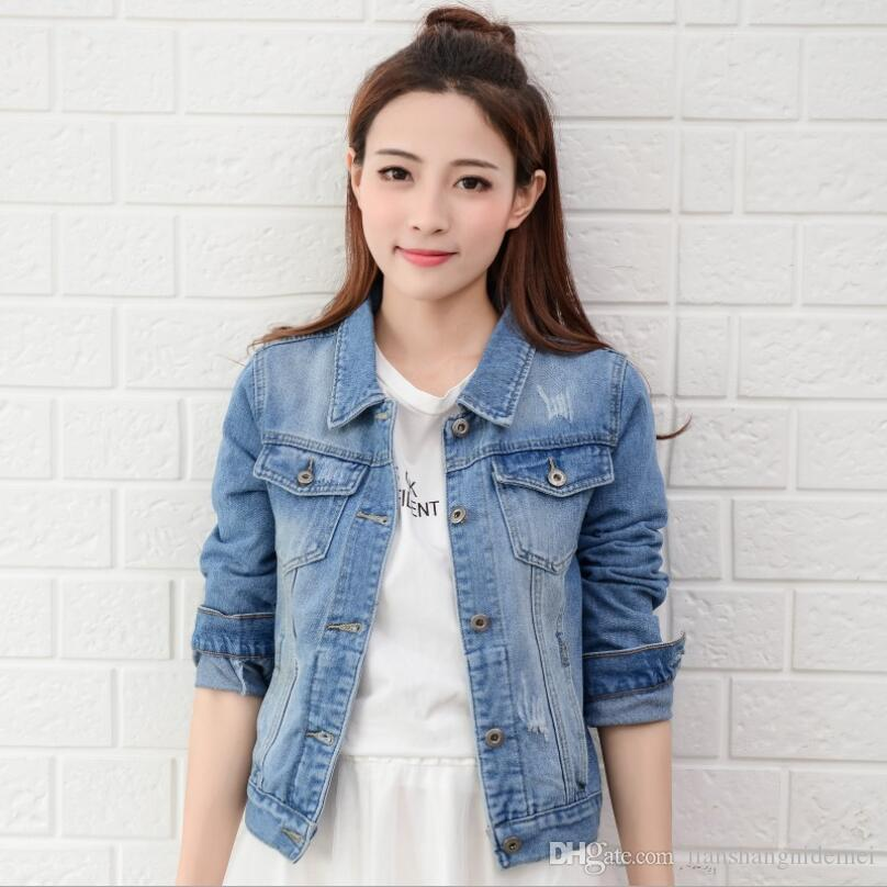 Wholesale New Fashion Spring Autumn Vintage Denim Jackets Women's ...