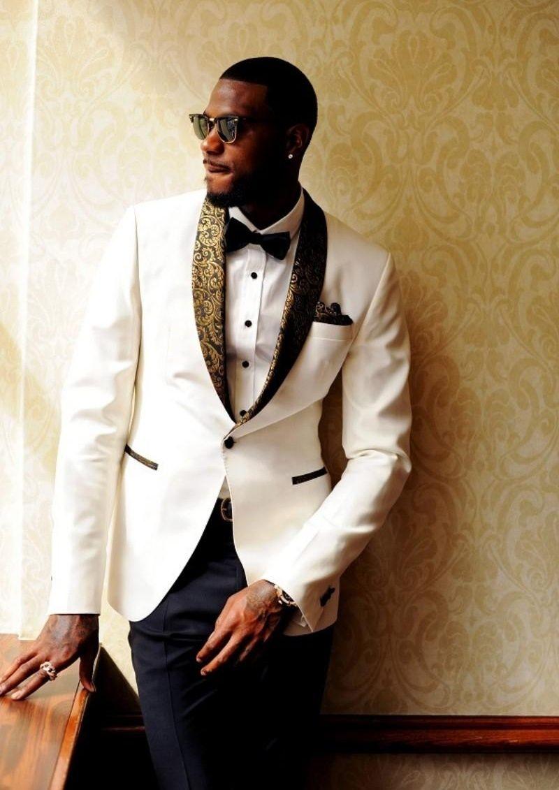 Hot Sale White Wedding Tuxedos Slim Fit Gold Pattern Laple Suits ...