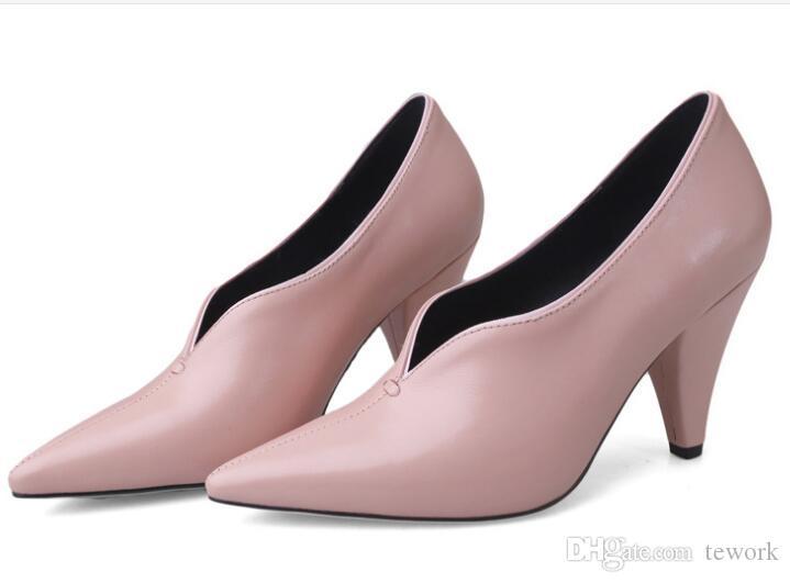 Women Elegant Genuine Leather Dress Shoes Ladies Luxury V Shaped ...