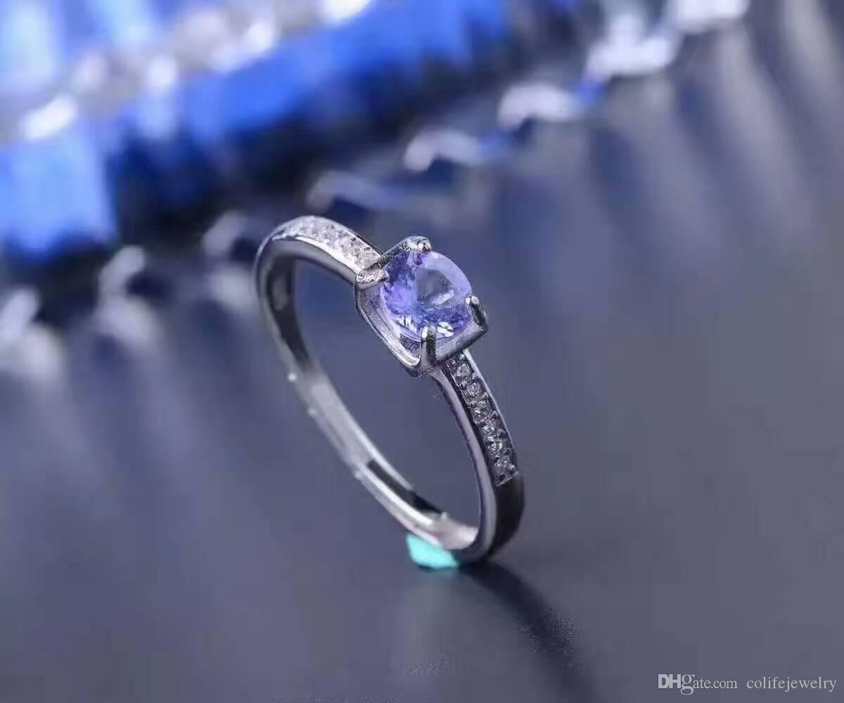 simple design gemstone ring 5mm round brilliant cut natural tanzanite silver ring solid 925 silver tanzanite wedding ring for girl