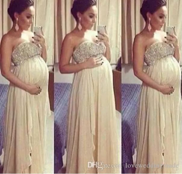 Long Maternity Prom Dresses 2017 For Pregnant Woman A Line Beaded ...
