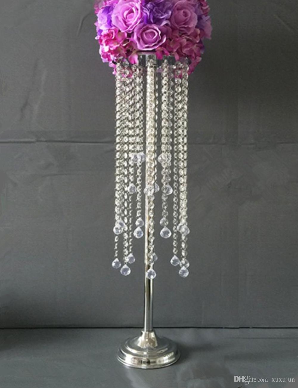 Acrylic Crystal Wedding Centerpiece Table 80CM Tall 20CM Diameter Decor Road Leads