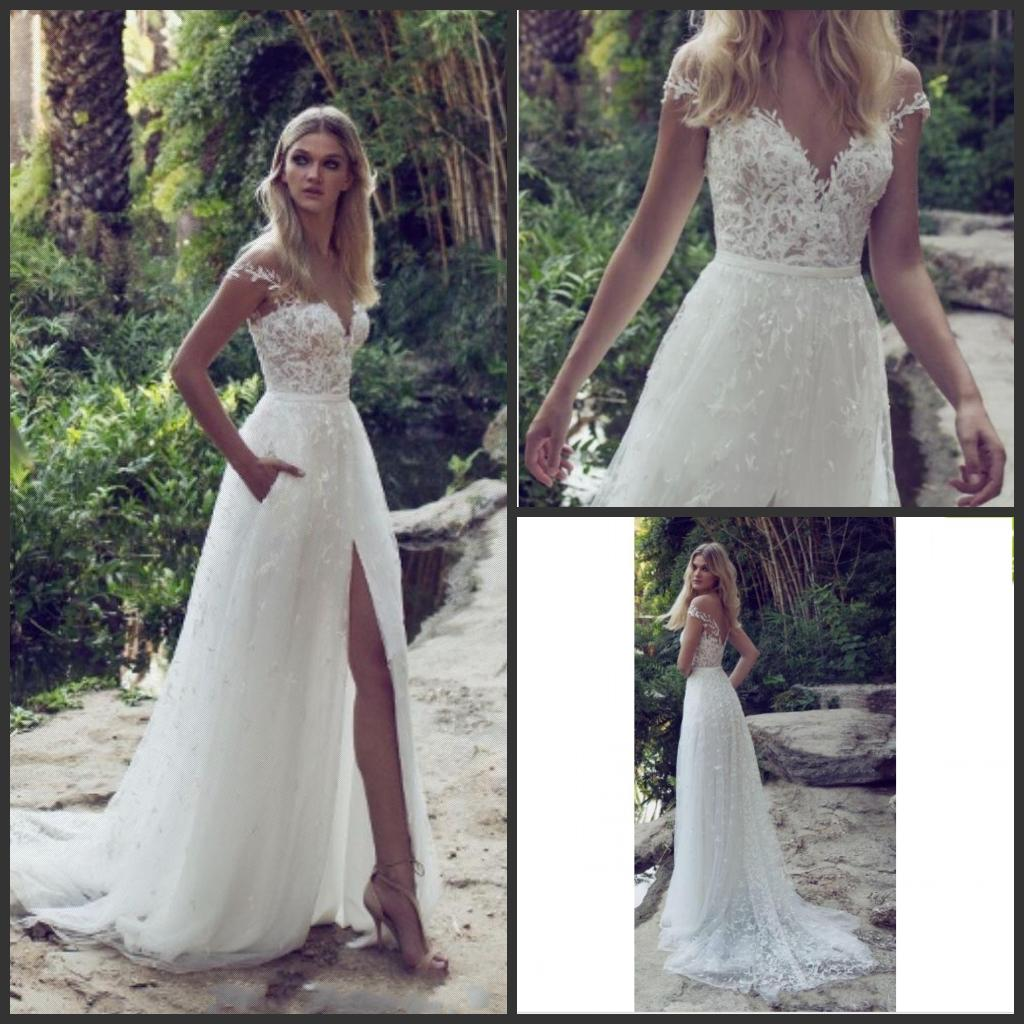 Limor Rosen New A Line Lace Wedding Dresses Illusion Bodice
