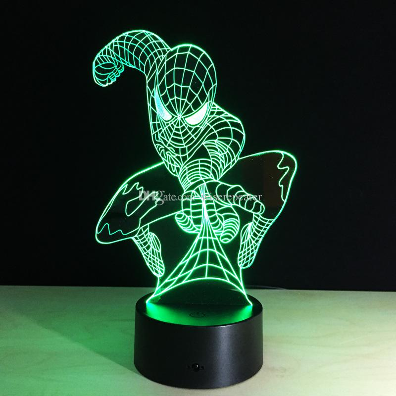 3D Spiderman Optical Night Light 7 RGB Lights DC 5V USB Alimenté avec AA Battery