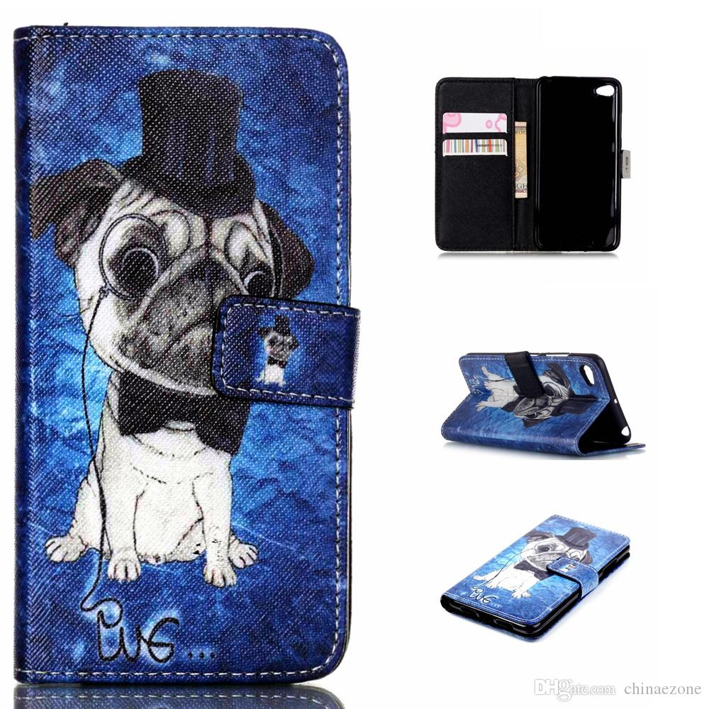 Cute Pet Pug Dog Design Pu Leather Flip Stand Wallet Card Holder Pouch Cover Case Lenovo S90 S 90 Protective Shell