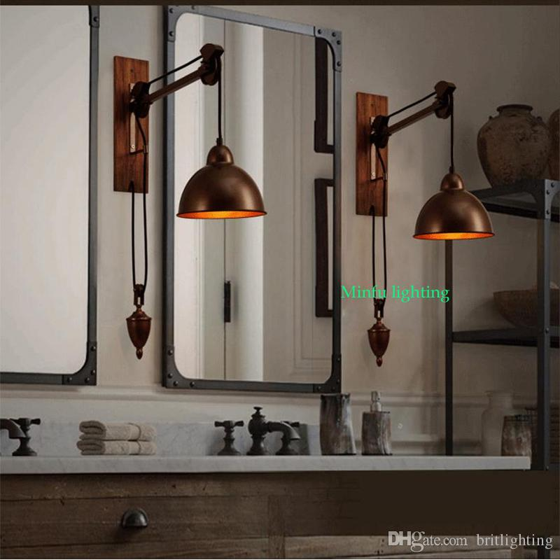 Industrial Bathroom Wall Sconces : 2017 Bathroom Wall Lamps Vintage Industrial Lighting Coffee Shop Retro Wall Light Sconces Bar ...