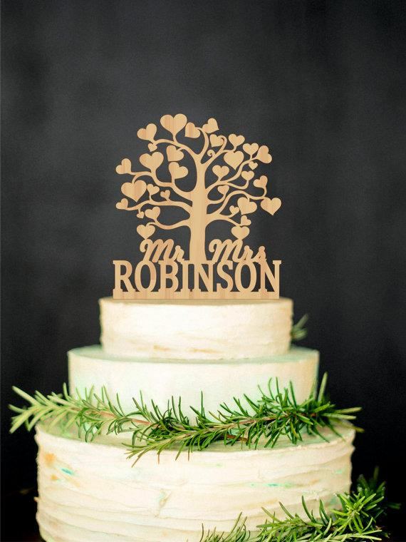 Wholesale Tree Wedding Mr Mrs Cake Topper Personalized Heart Last Name For Handle Slicer Online