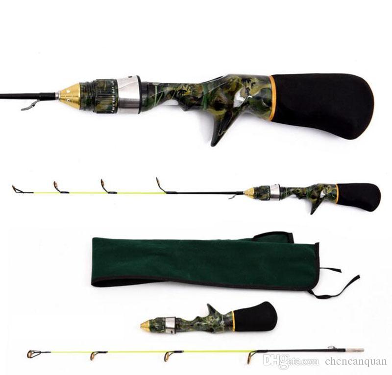 Mini camouflage portable winter ice fishing rod 50cm short for Camo fishing pole