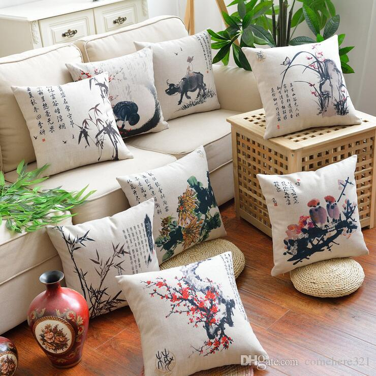 Chinese Wind Cotton And Linen Sofa Cushions Ink Painting Plum