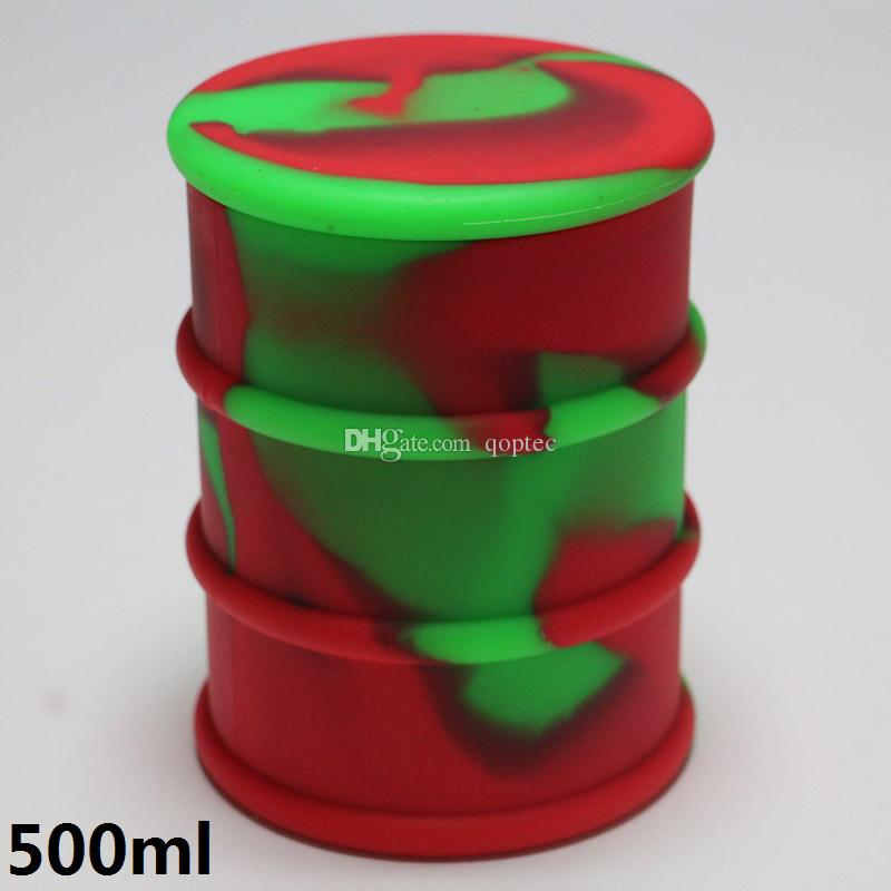 Custom large container 500ml silicone oil barrel jars for for Decor 500ml container