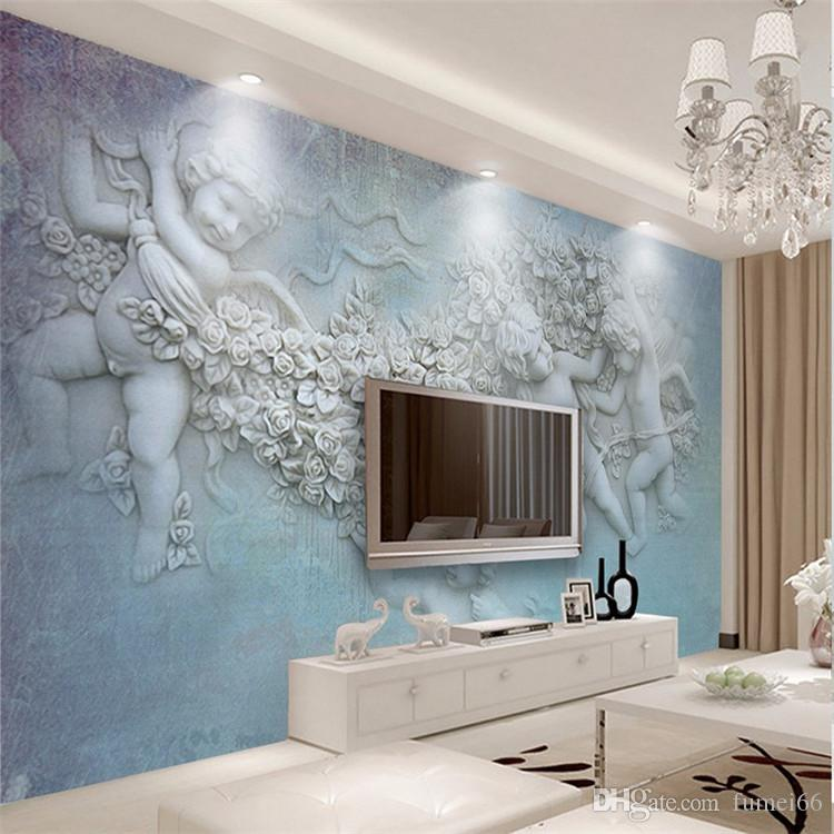 european large custom angel murals embossed 3d wall murals wallpaper for living room tv. Black Bedroom Furniture Sets. Home Design Ideas