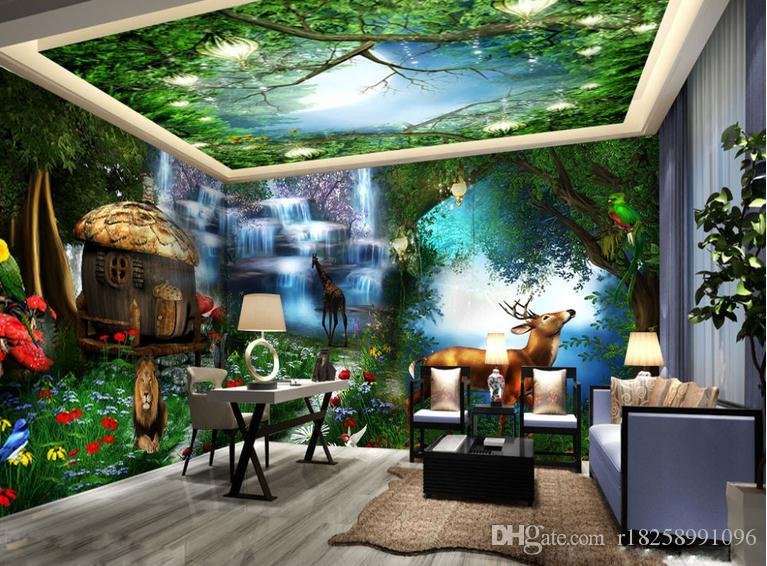 Wholesale custom 3d wallpaper for walls 3d photo wallpaper for Cabin in the woods wall mural