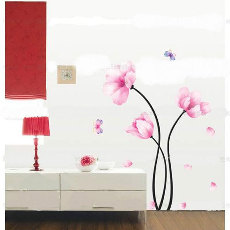 Qt 0066 Diy Watercolor Flower Wall Stickers Living Room Tv Background Home Decor Refrigerator Decals