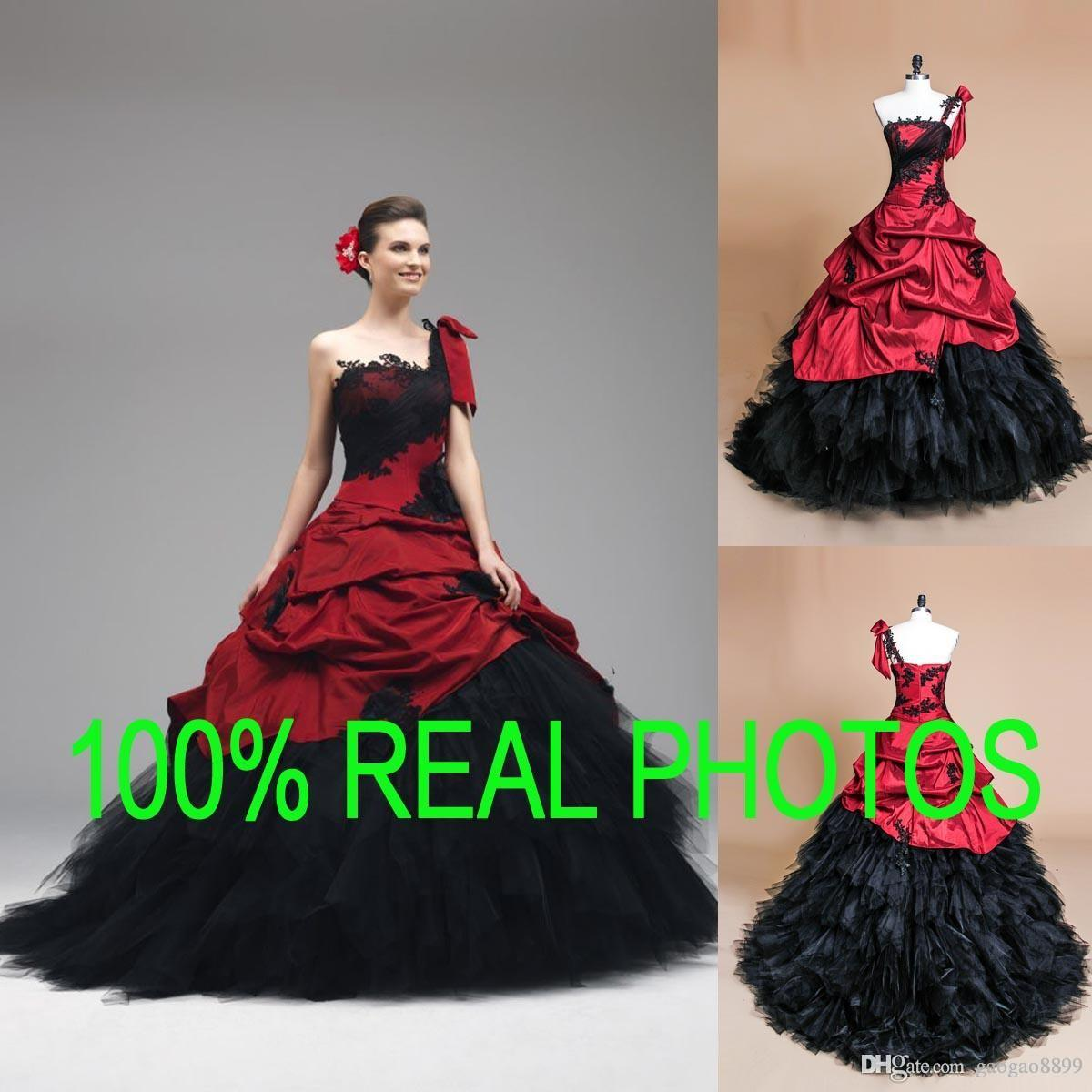 Real image gothic gown ball wedding dresses black and red one real image gothic gown ball wedding dresses black and red one shoulder lace appliques 2017 quinceanera bridal party gown vintage top quality plus size ombrellifo Gallery