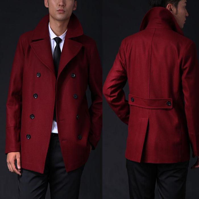 Wholesale- Size Customize Male Wool Red Trenchcoat Western High ...