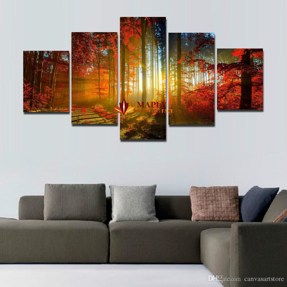 2017 5 panel forest painting canvas wall art picture home for Wall art paintings for living room