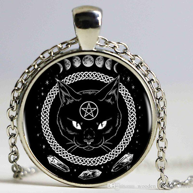 Black Cat Alchemy Phases Of The Moon Logo Femmes Choker Déclaration Pendentif Ar