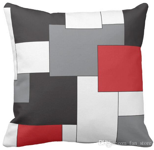 Pillow Case, Color Block Red Black Gray White Pattern ...