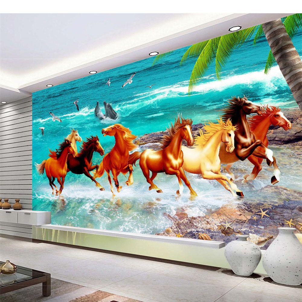 Fabric Non Woven Sound Absorbing Home Decor Living Room Natural Art Beach Horse Custom Wallpaper Beautiful