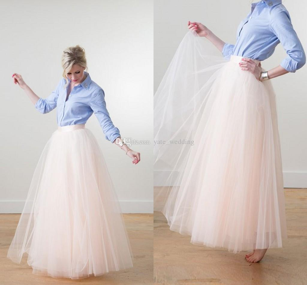 Fashion Ivory Tulle Floor Length Skirts For Women Multi Layers ...