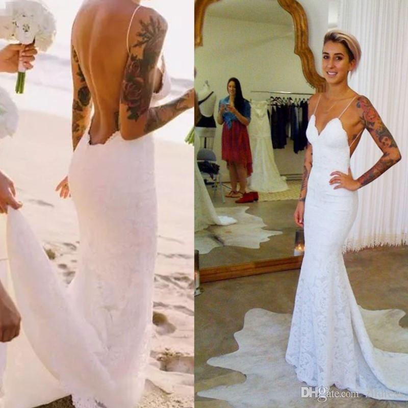 2017 Backless Beach Wedding Dresses Spaghetti Straps Lace Mermaid ...