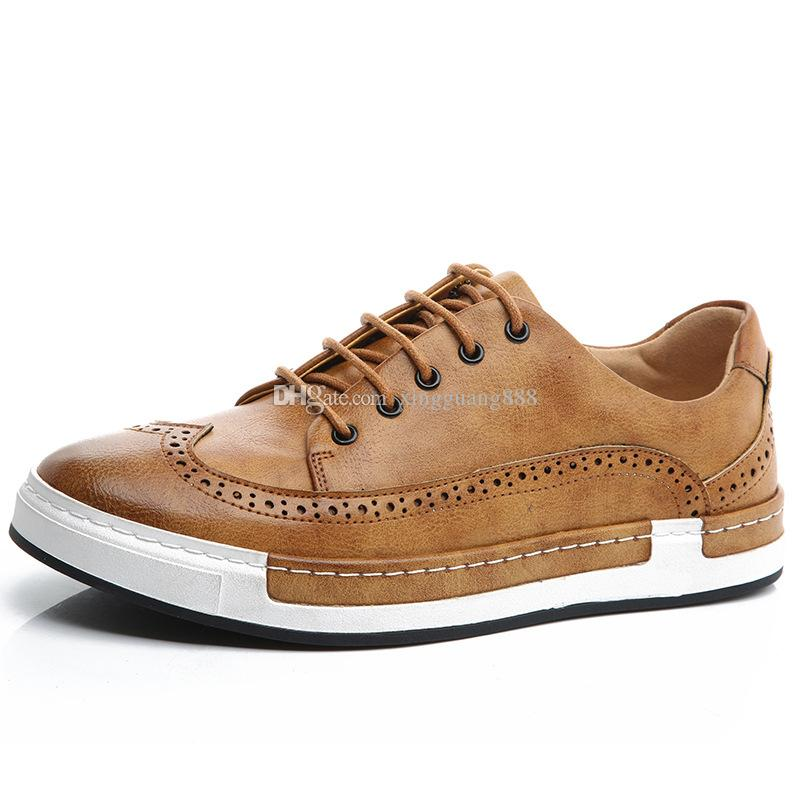lowest price board shoes mens casual pu leather