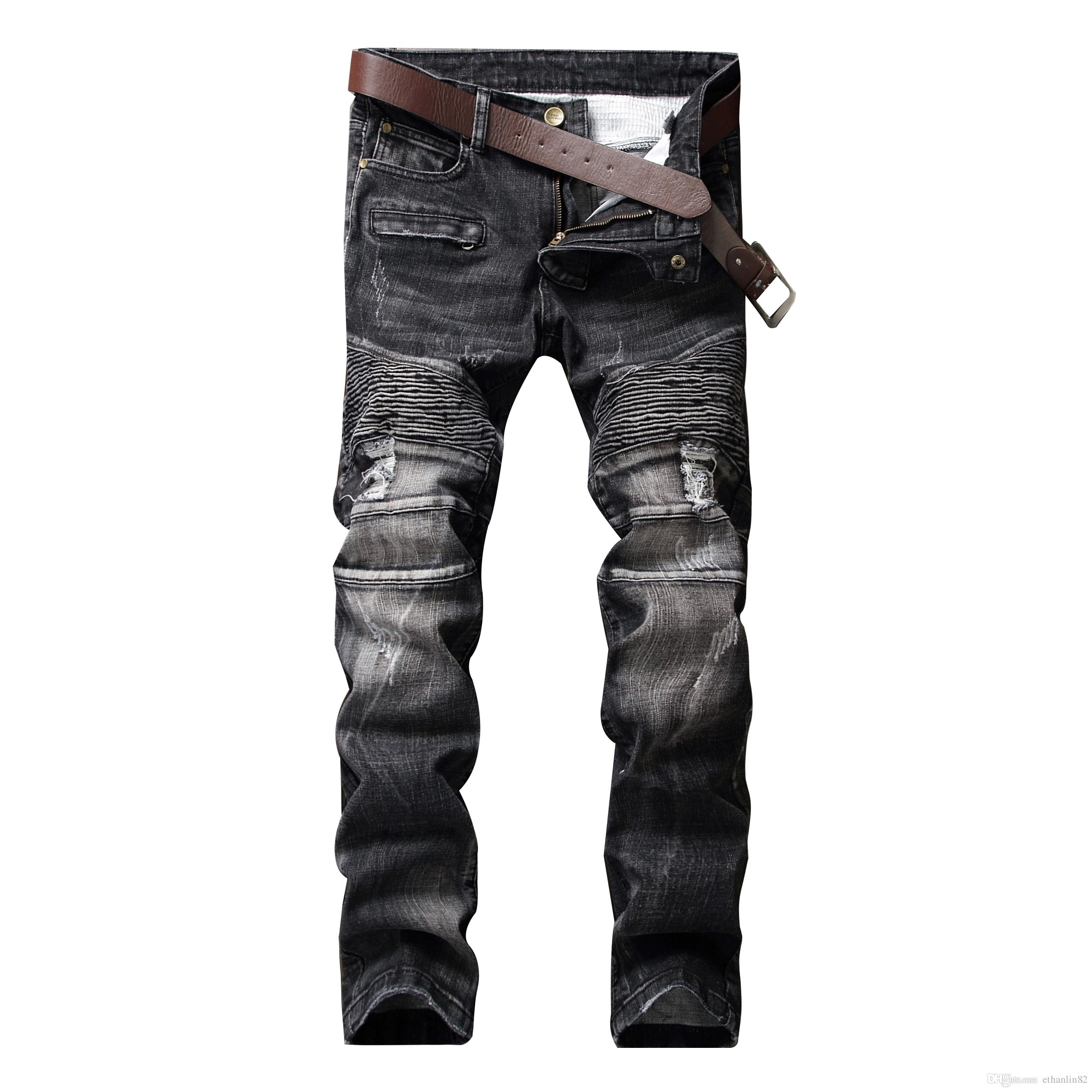 2017 Men'S Ripped Jeans Fashion Stretch Denim Jeans Slim Fit Black ...