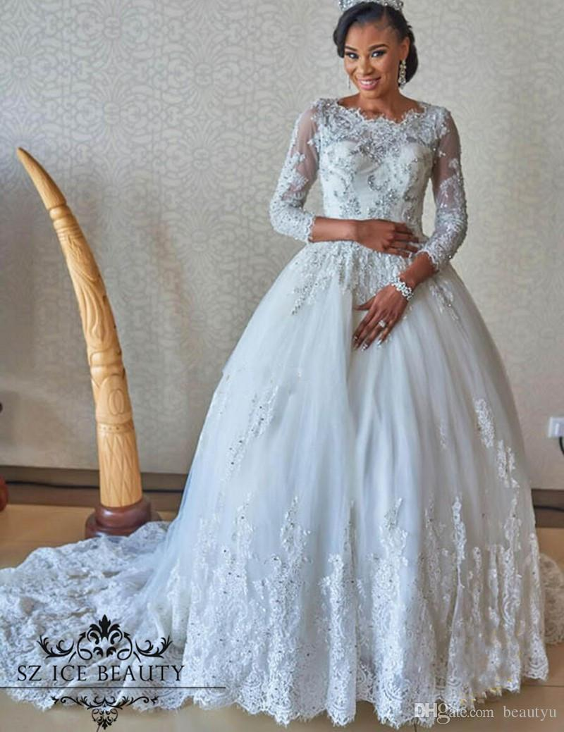 Wedding Ball Gowns For   In South Africa : African ball gown wedding dresses lace sheer long sleeves dubai