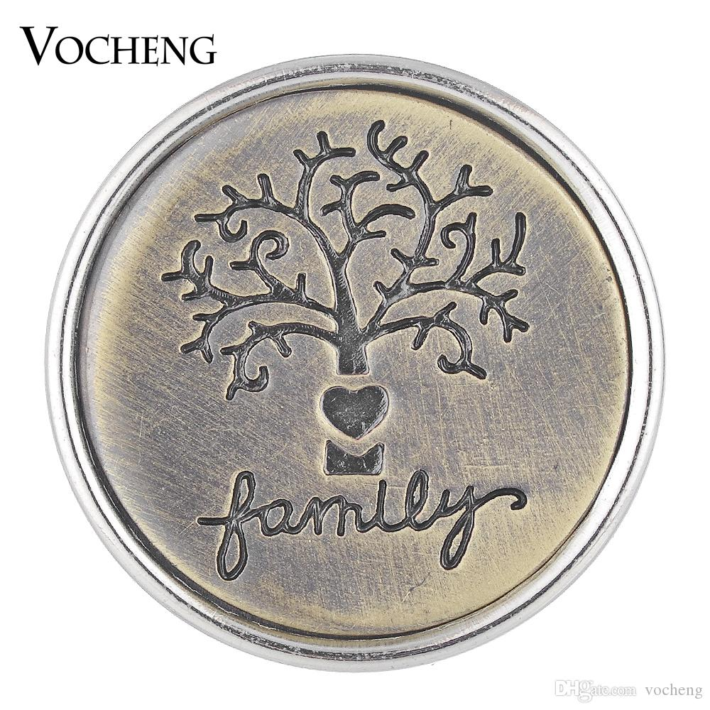 VOCHENG NOOSA Antique Bronze Ginger Snap Charms bouton arbre gravé 18mm Vn-1751