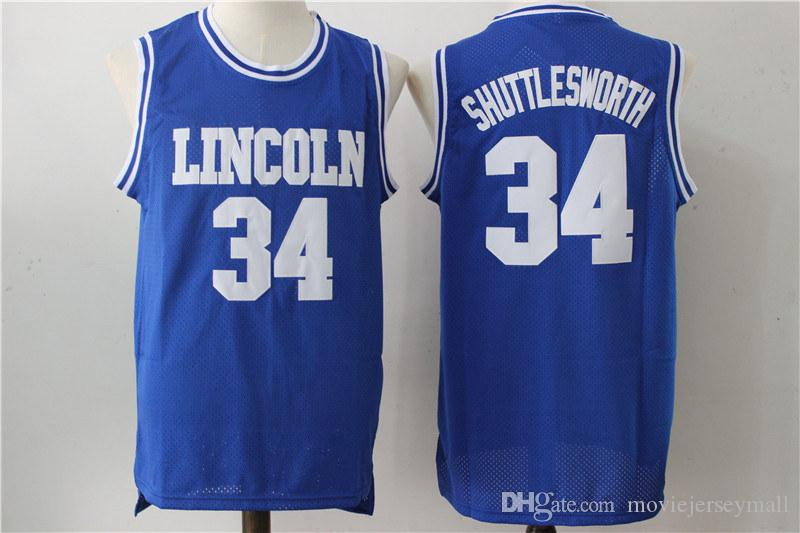 Jésus Shuttlesworth Ray Allen # 34 Lincoln He Got Game Jeu de film Jersey bleu b