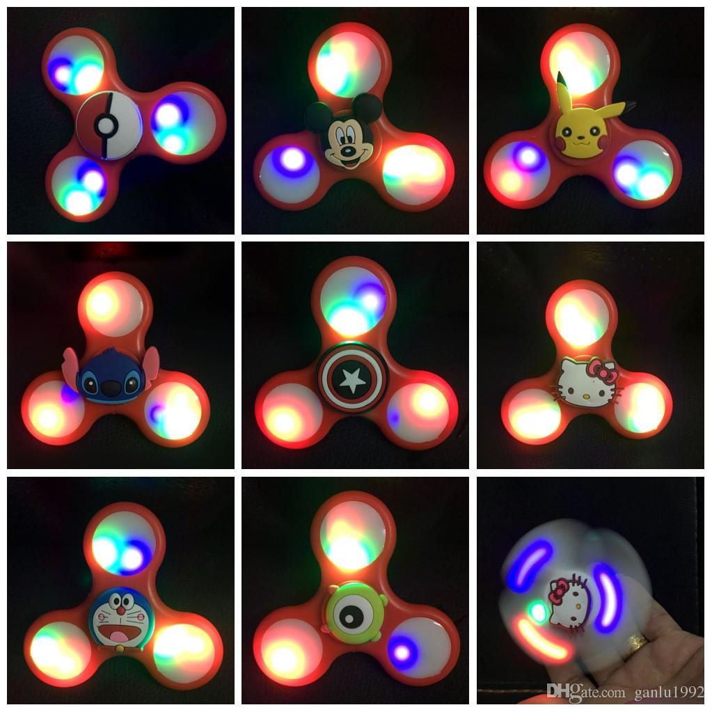 Cartoon pattern fidget spinner triangle edc finger toy led for Light up fishing spinners