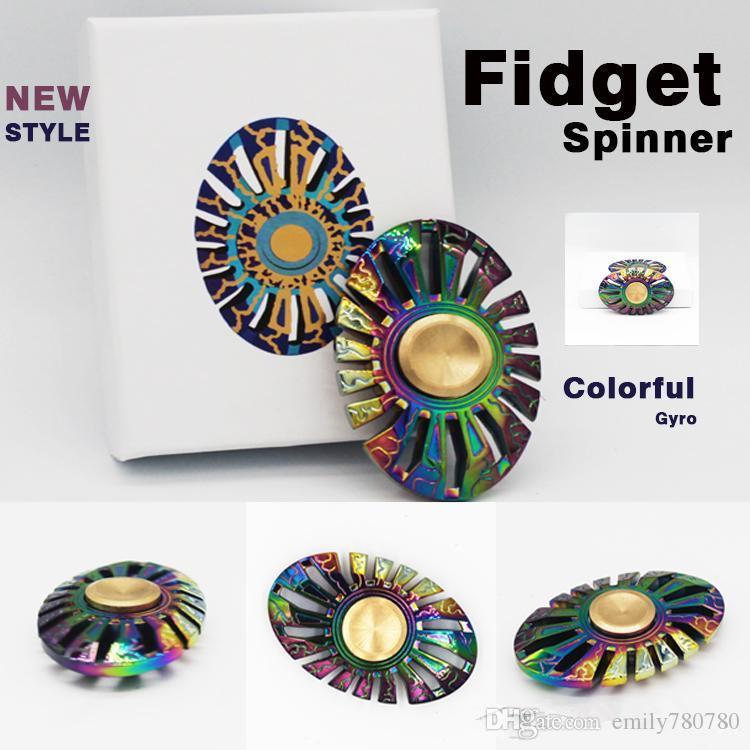 Top newest rainbow sunflower fidget spinner fingertip for Fish fidget spinner