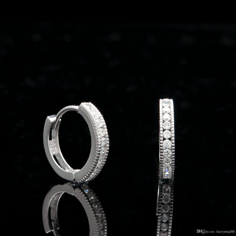 020ct Created Diamond Huggie Hoop Earrings Solid 14k White Gold Milgrain  Edge