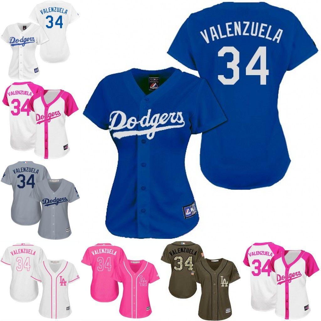 ... women new los angeles dodgers 34 fernando valenzuela white pink grey  coolbase baseball jersey los an e458b203b