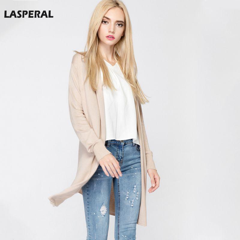Wholesale- LASPERAL Women Cardigan Sweaters Ruffled Collar Open ...