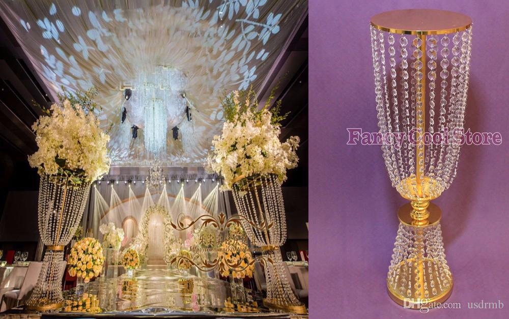 Bling gold metal wedding table centerpiece crystal