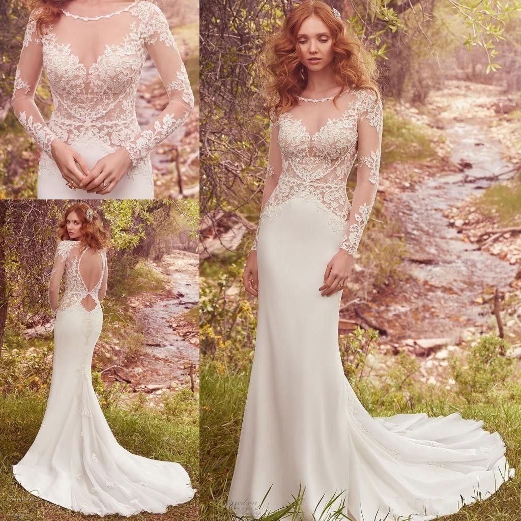 2017 Country Sheer Neck Mermaid Wedding Dresses Applqiues