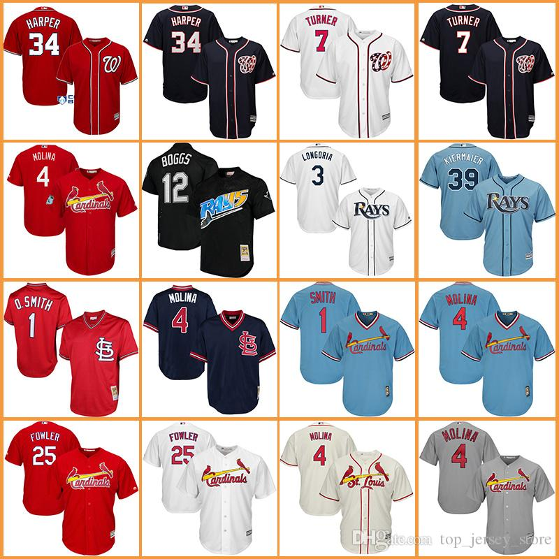 Maillots de baseball Cardinals Ozzie Smith Yadier Molina Dexter Fowler Nationals