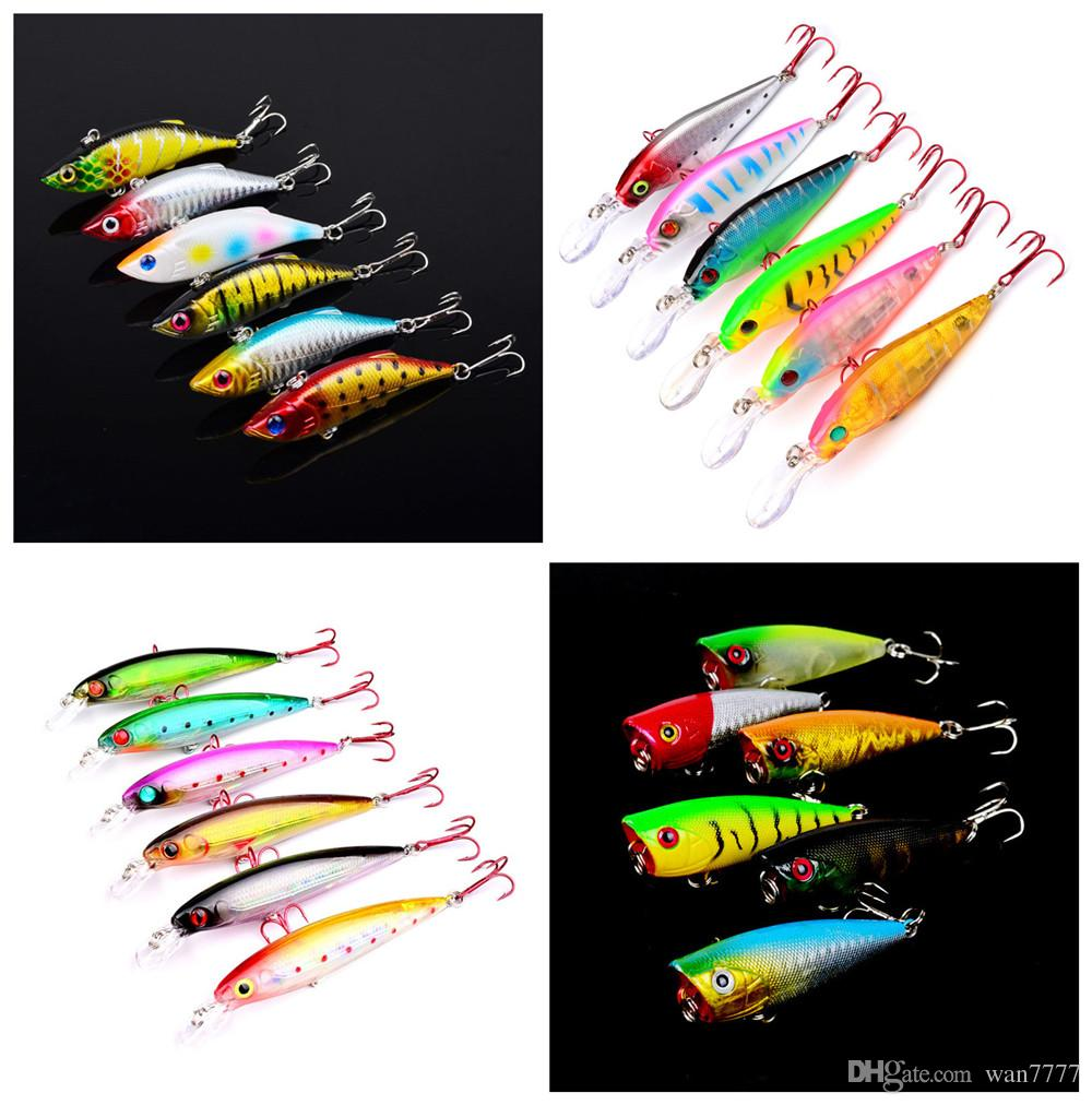6 couleurs en plastique Dissures durables Enseignes Hook Fishhooks 3D Minnow Fis