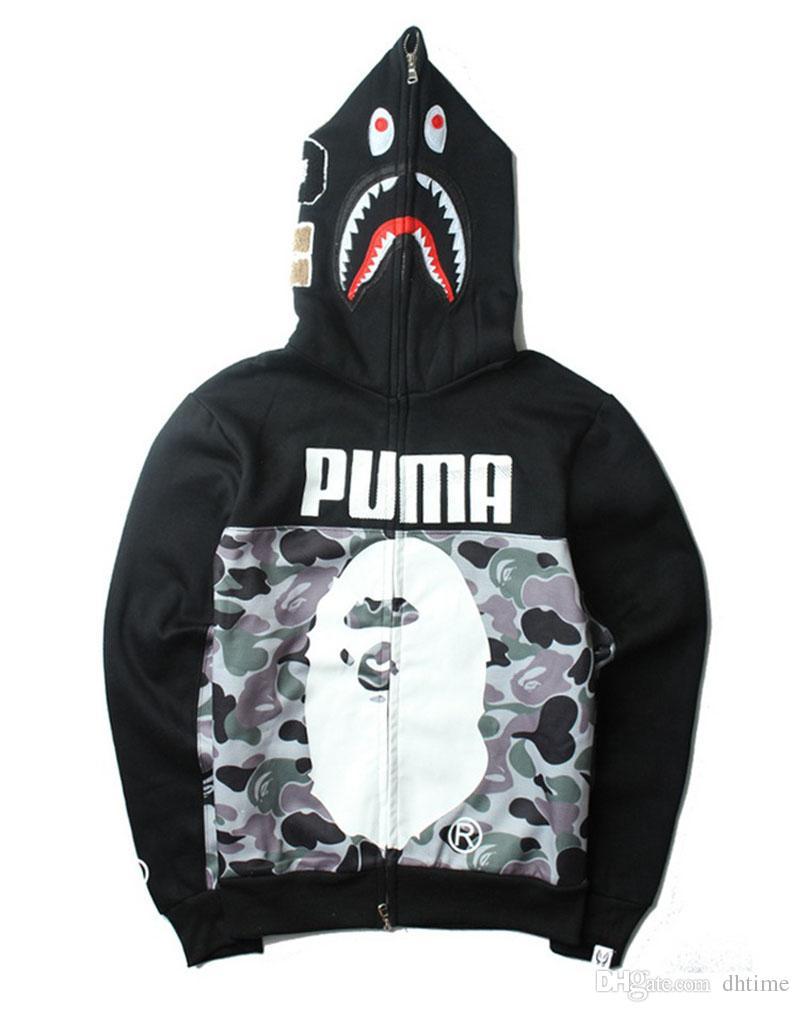 Men's Fashion Black Hooded Hoodies Camouflage Zipper Hoodies ...