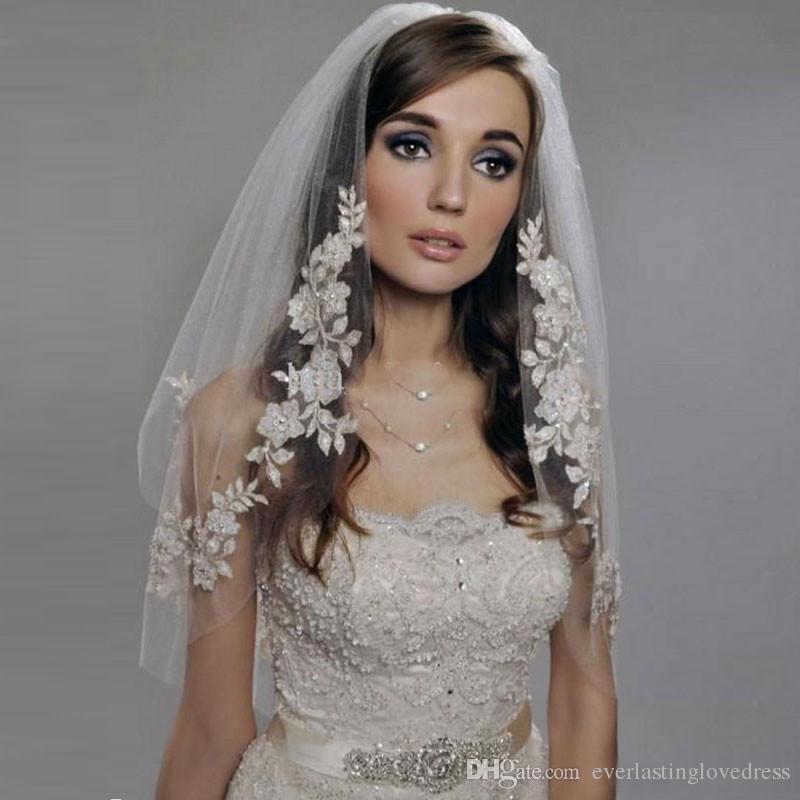 Romantic And Cheap Wedding Accesories Wedding Veils Applique Veu