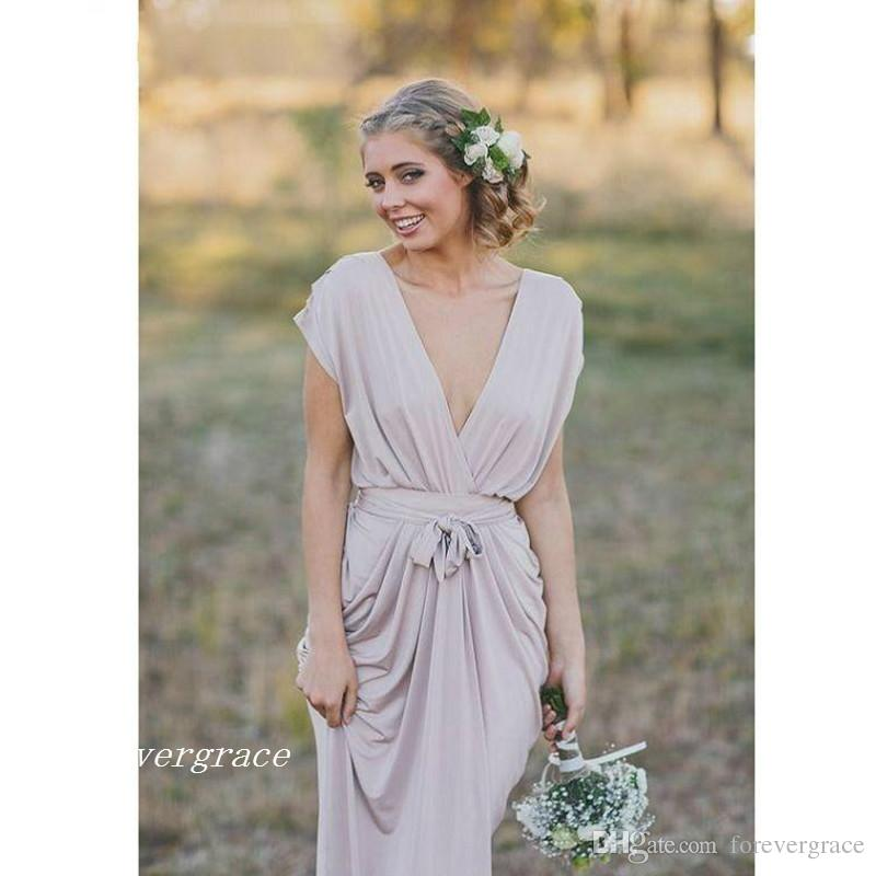 2017 cheap french country grey boho chiffon bridesmaid for Affordable non traditional wedding dresses