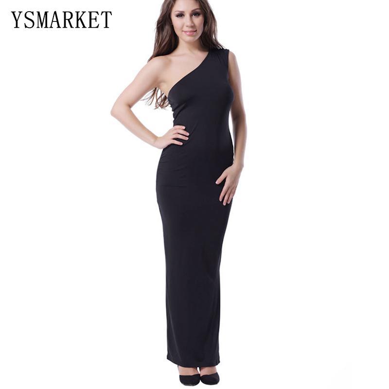 Long straight black evening dress