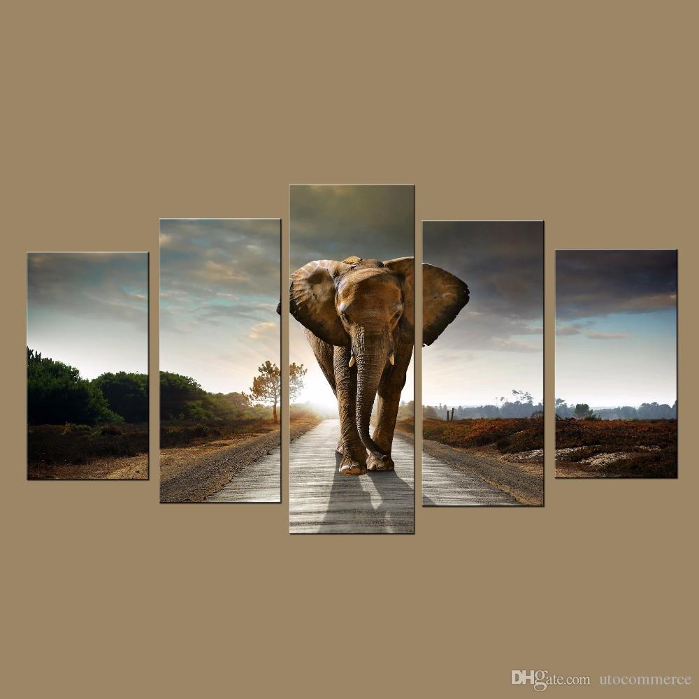 modern wall art prints canvas elephant painting from digital