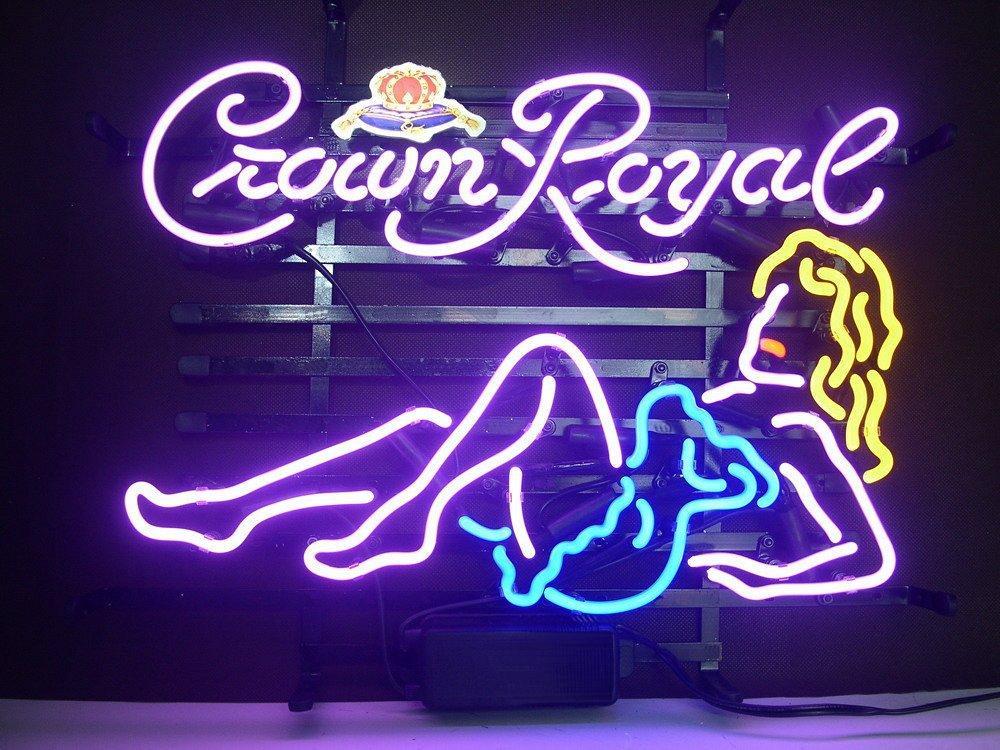 2017 Brand New Crown Royal Real Glass Neon Sign Light Beer